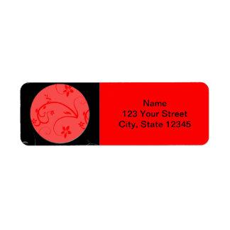Expresiones intrépidas en rojo y negro etiqueta de remitente