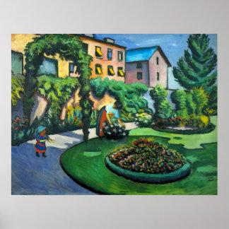Expresionismo del vintage, un jardín, Gartenbild, Póster