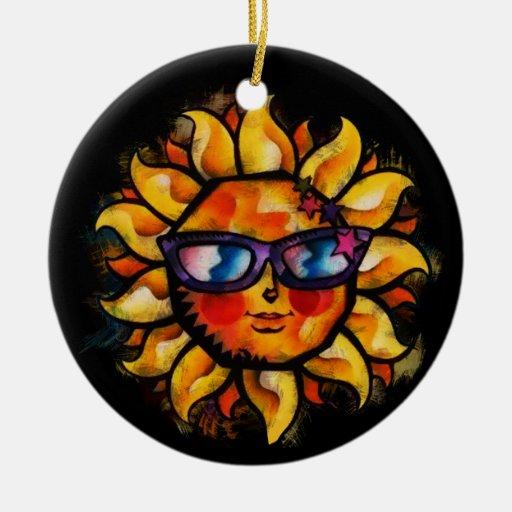 Expresionista colorido brillante Sun con las gafas Adorno Navideño Redondo De Cerámica