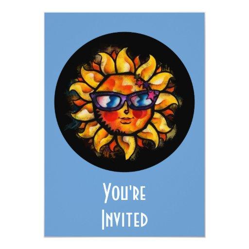 """Expresionista colorido brillante Sun con las gafas Invitación 5"""" X 7"""""""
