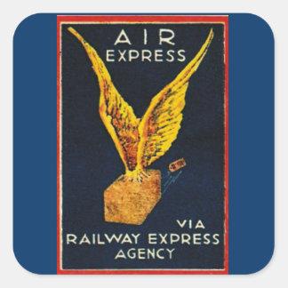 Expreso de aire vía la agencia expresa del pegatina cuadrada