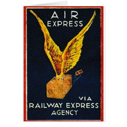 Expreso de aire vía la agencia expresa del tarjeta de felicitación