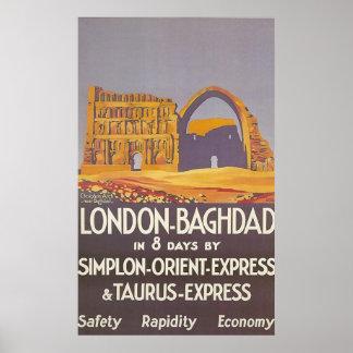 Expreso de Oriente del simplon de Londres Bagdad Póster