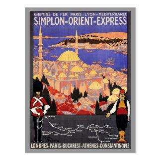 Expreso de Simplon Oriente a Constantinopla Tarjeta Postal