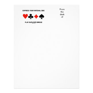 Express Your Rational Side Play Duplicate Bridge Letterhead