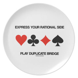 Express Your Rational Side Play Duplicate Bridge Dinner Plates