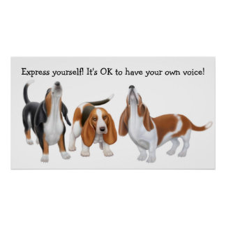 Express Yourself Basset Hound Dogs Print
