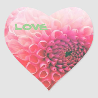Expressing love with the dahlia of pink heart sticker