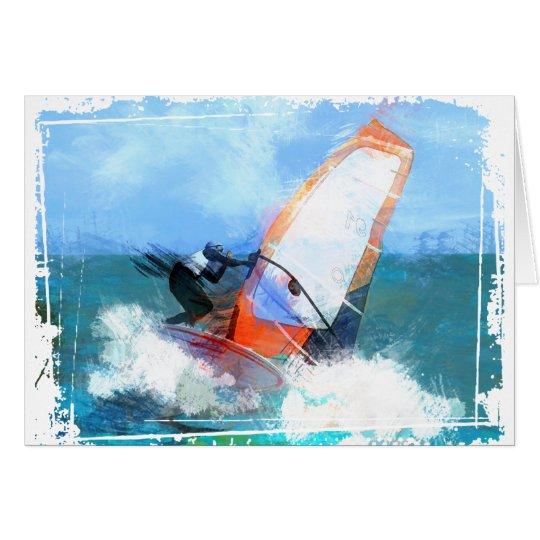 Expressionist Orange Sail Windsurfer Card