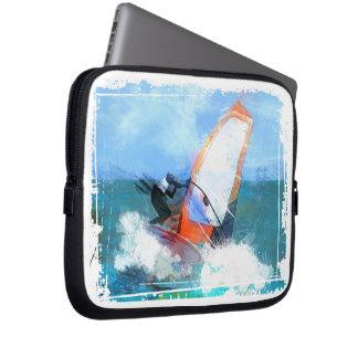 Expressionist Orange Sail Windsurfer Laptop Sleeves