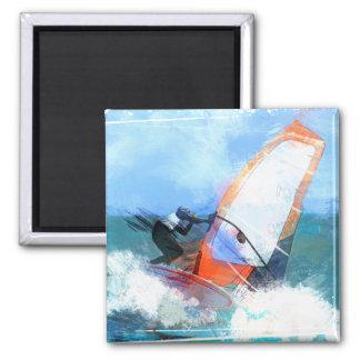 Expressionist Orange Sail Windsurfer Magnet
