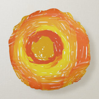 Expressionist Sunshine Round Pillow