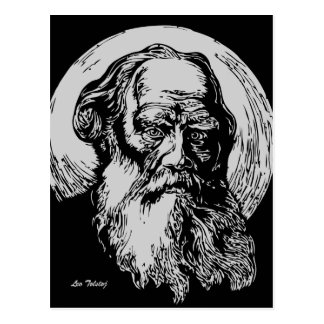 Expressionist Vector Art Leo Tolstoy Post Card
