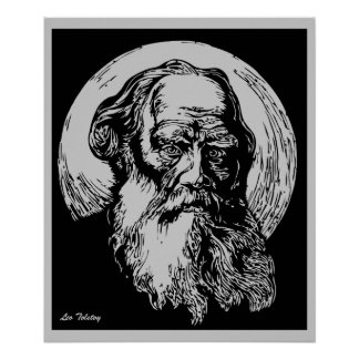 Expressionist Vector Art Leo Tolstoy Poster