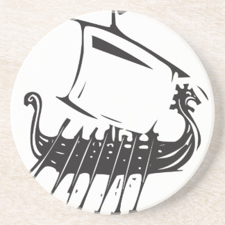 Expressionistic Viking Ship Drink Coaster