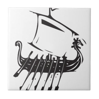 Expressionistic Viking Ship Tile