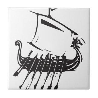 Expressionistic Viking Ship Tile
