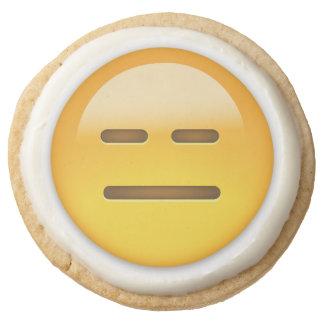 Expressionless Face Emoji Round Shortbread Cookie