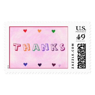 Expressions stamps, Thanks, rainbow hearts