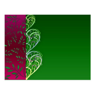 Expressive Greenish swirls and leaves Postcard