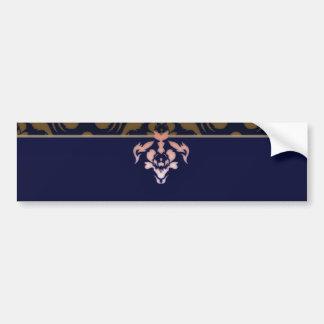 Expressive maroon damask pattern bumper stickers