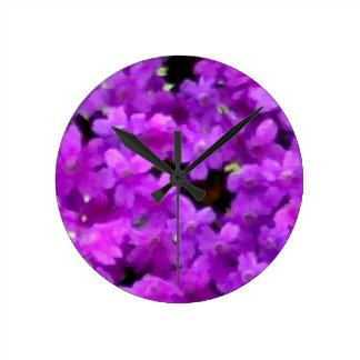 Expressive Wildflowers Purple Flowers Floral Round Clocks