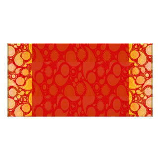 Expressive yellow art work on red texture customized photo card