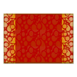 Expressive yellow art work on red texture poster