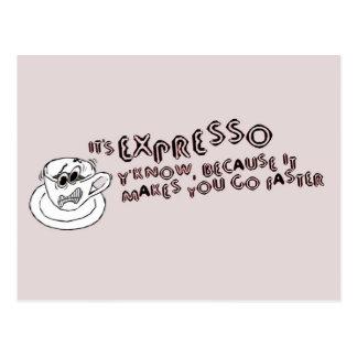 Expresso le hace más rápido tarjeta postal