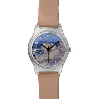 Exprimidor del punto de las rocas del individuo su relojes de pulsera