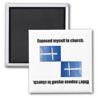 Expuesto en iglesia imán cuadrado