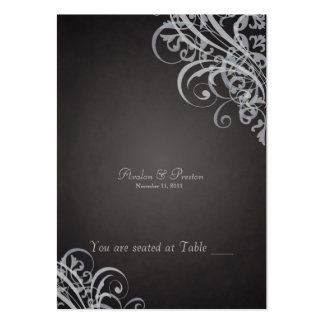Exquisite Baroque Black & Silver Scroll Placecard Large Business Cards (Pack Of 100)