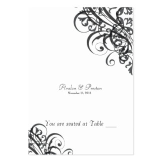 Exquisite Baroque Black & White Scroll Placecard Large Business Cards (Pack Of 100)