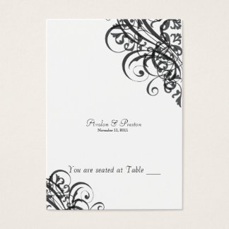Exquisite Baroque Black & White Scroll Placecard Business Card