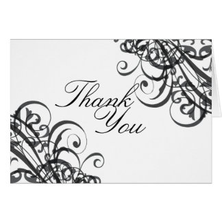 Exquisite Baroque Black & White Scroll Thank You Card