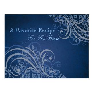 Exquisite Baroque Blue Bridal Shower Recipe Card