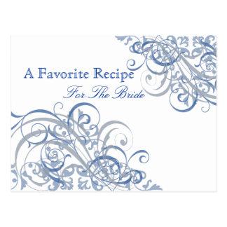 Exquisite Baroque Blue Bridal Shower Recipe Card Postcard