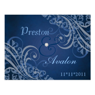 Exquisite Baroque Blue Save The Date Postcard