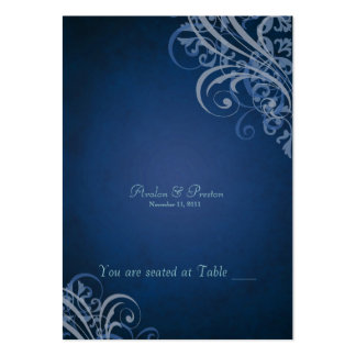 Exquisite Baroque Blue Scroll Placecard Large Business Cards (Pack Of 100)