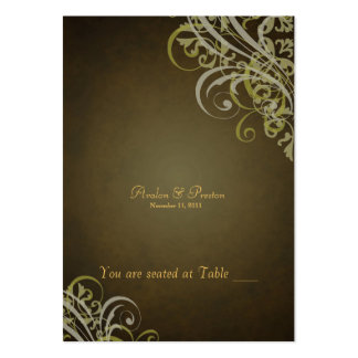 Exquisite Baroque Brown Scroll Placecard Large Business Cards (Pack Of 100)