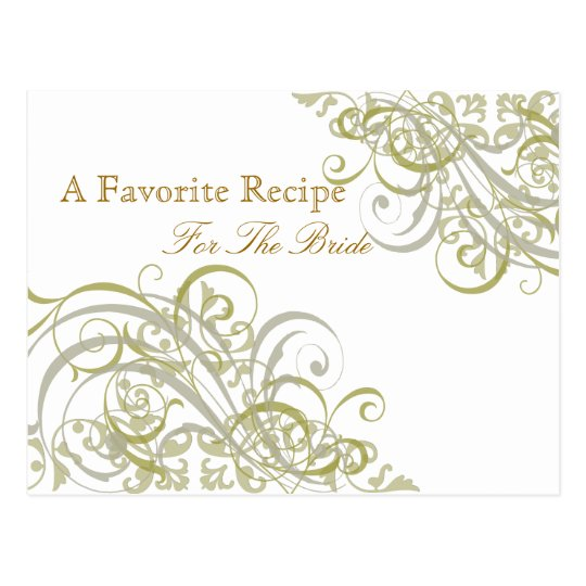 Exquisite Baroque Gold Bridal Shower Recipe Card