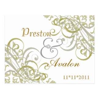 Exquisite Baroque Gold Save The Date White Postcard