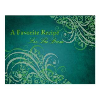 Exquisite Baroque Green Bridal Shower Recipe Card