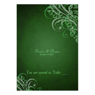 Exquisite Baroque Green Scroll Placecard Large Business Cards (Pack Of 100)