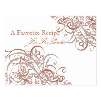 Exquisite Baroque Orange Bridal Shower Recipe Card