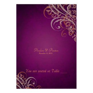 Exquisite Baroque Orange & Pink Scroll Placecardn Large Business Cards (Pack Of 100)