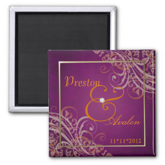 Exquisite Baroque Orange Save The Date Pink Magnet