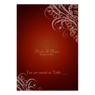 Exquisite Baroque Orange Scroll Placecardn Large Business Cards (Pack Of 100)