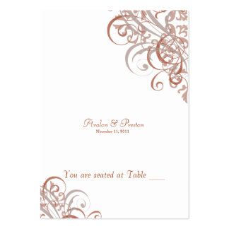 Exquisite Baroque Orange & White Scroll Placecard Large Business Cards (Pack Of 100)