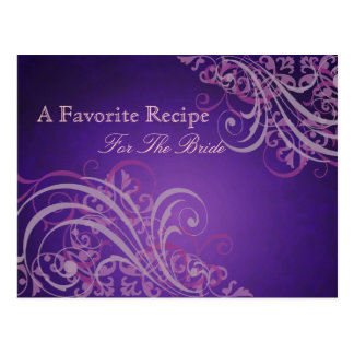 Exquisite Baroque Pink Bridal Shower Recipe Card Postcard
